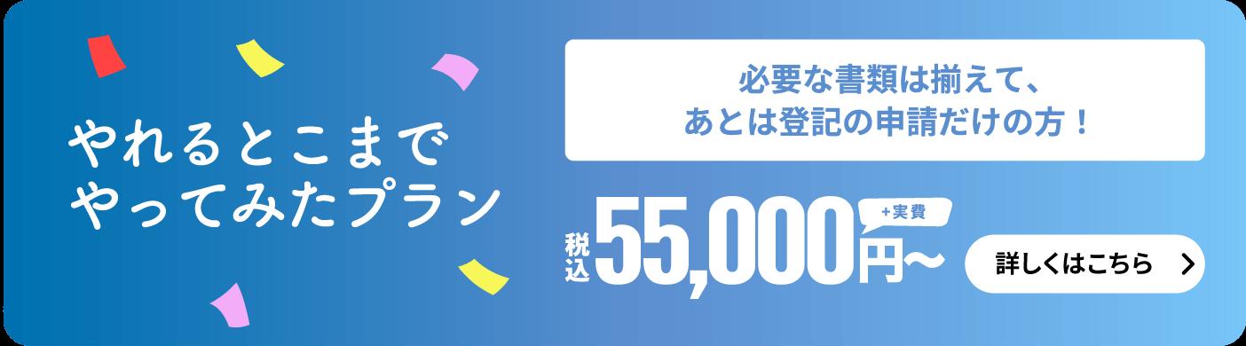 やれるとこまでやってみたプラン 必要な書類は揃えて、あとは登記の申請だけの方! 5万円〜(消費税+実費)
